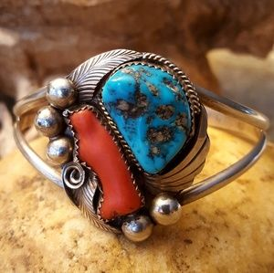 VINTAGE SIGNED NAVAJO Turquoise Coral Cuff-EUC!